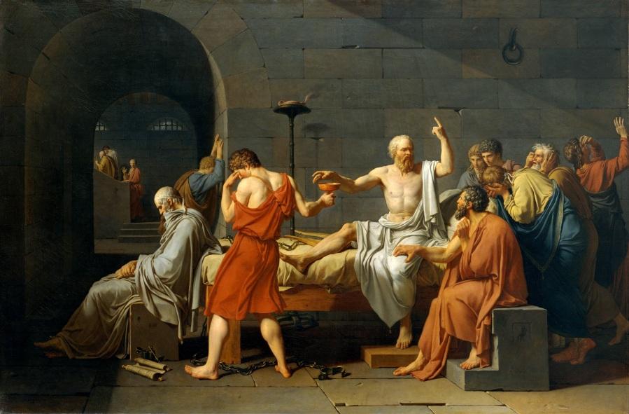 Jacques-Louis David, La mort de Socrate (1787), conservé au Metropolitan Museum of Art de New York.