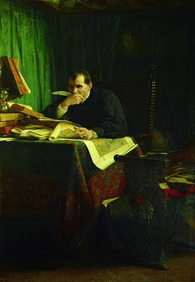 Portrait de Nicolas Machiavel, homme politique et écrivain italien, par Stefano Ussi. Peinture à l'huile.