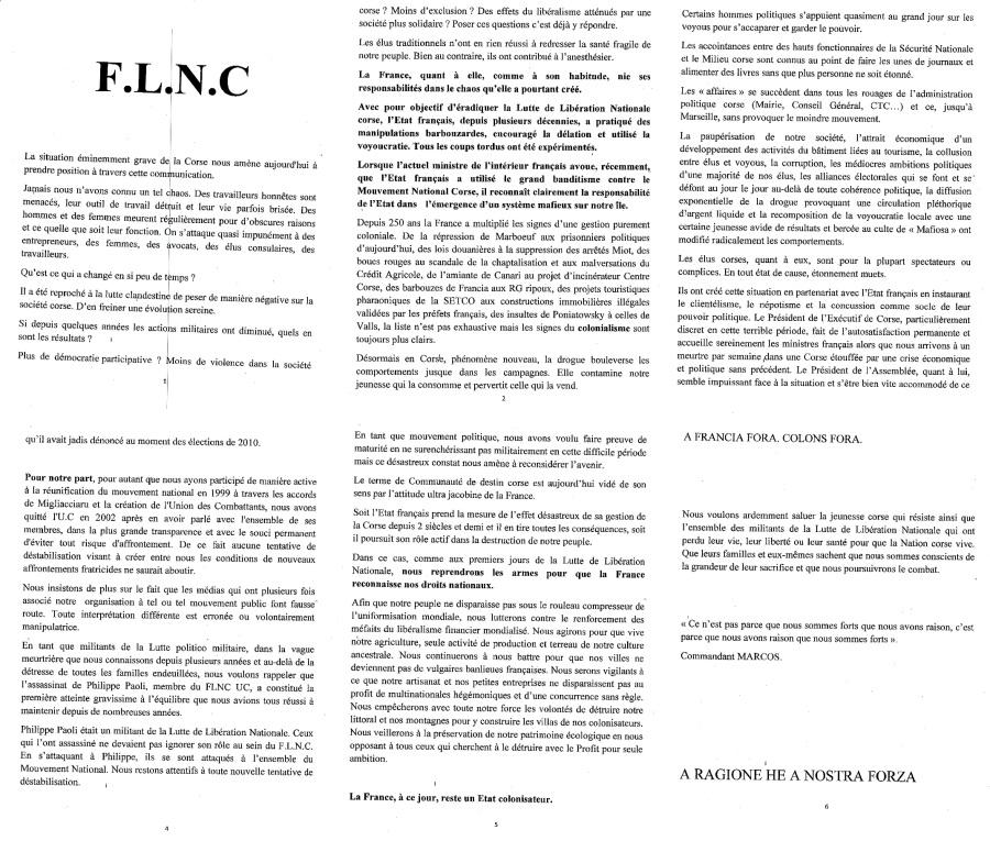 COMMUNIQUE FLNC (Magà Ettori - Blog)