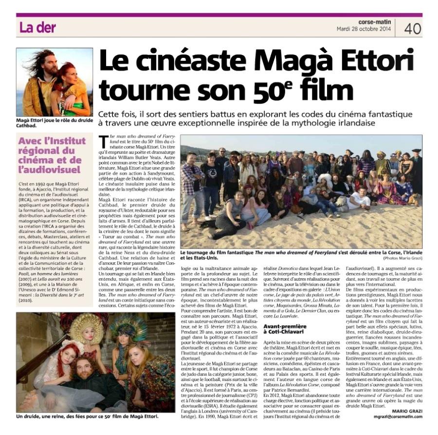 FAERYLAND - MAGA ETTORI - Corse Matin 28 octobre 2014