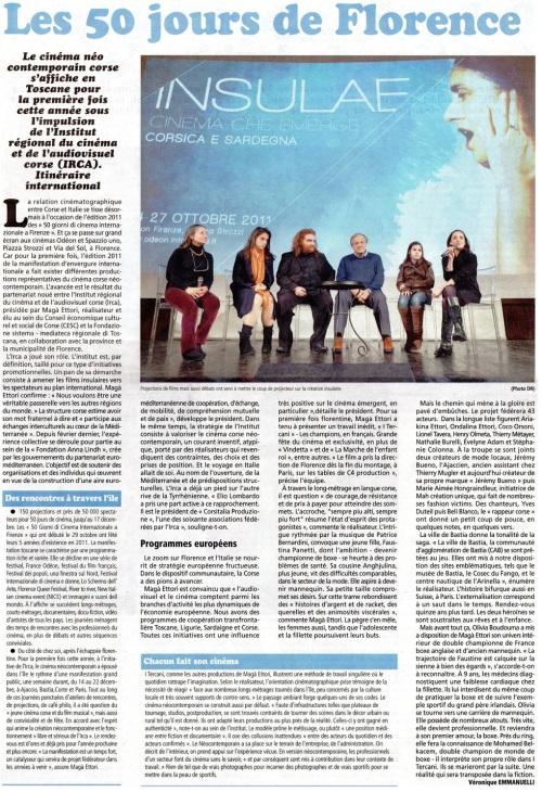 IRCA Florence article Véronique Emmanuelli - La Corse Votre Hebdo 30 12 2011