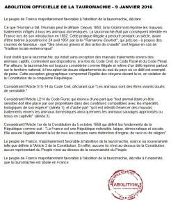 Abolition officielle de la tauromachie - Paris - 9 janvier 2016