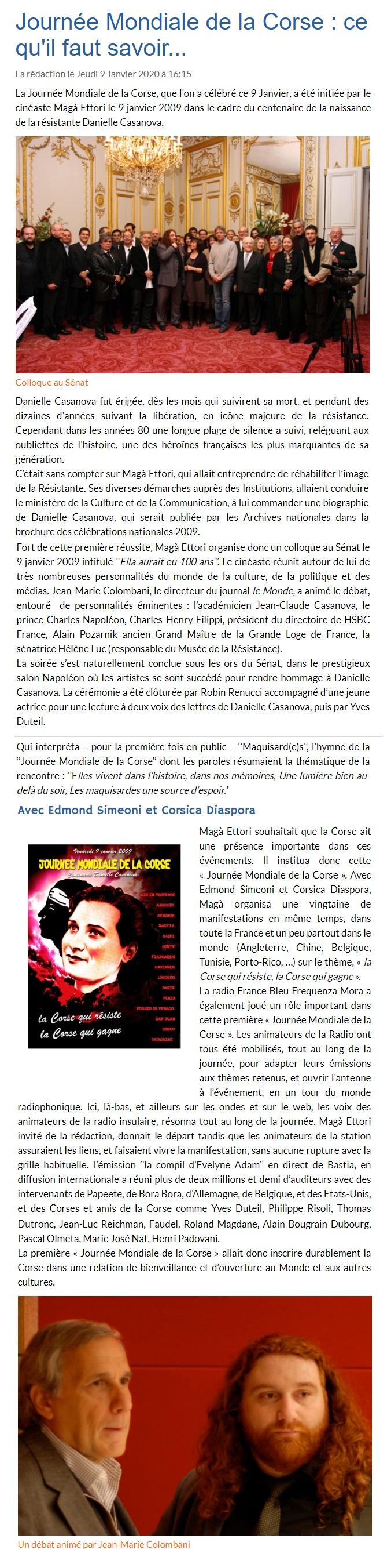 JOURNEE MONDIALE DE LA CORSE - MAGA ETTORI