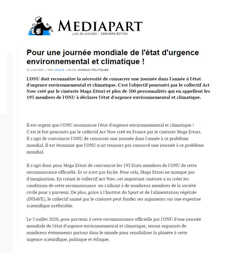 MEDIAPART - Journée Mondiale de l'Etat d'Urgence Environnemental et Climatique